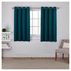 "Set of 2 Sateen Twill Weave Insulated Blackout Grommet Top Window Curtain Panels Teal (Blue) (52""x63"") - Exclusive Home"