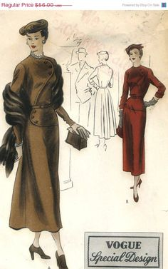 Vintage 1940s Vogue Special Design S-4925 Misses One Piece Evening Dress with Accent Circular Bodice Sewing Pattern     Size 16 = Bust 34.
