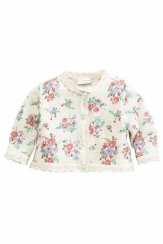 Buy Cream Floral Printed Knitted Cardigan (0-18mths) from the Next UK online shop