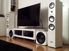 Home theater speakers, home theater tv, built in speakers, audio room, room Home Theater Setup, Home Theater Speakers, Home Theater Rooms, Home Theater Projectors, Cinema Room, Som Retro, Man Cave Basement, Audio Room, Room Setup