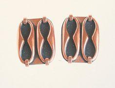 Vintage Copper Renoir Earrings Black Enamel by CamanoIslandVintage, $32.50