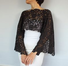 Romantic bridal bolero capelet, made of dark charcoal elastic lace, my unique design. Rectangular shaped, gives an air romantic and shabby chic. Lightweight, makes you feel very comfortable. Dim. 21.7 x 51.6 (55x131 cm). Similar items in lighter colors (white, ivory, cream etc) are