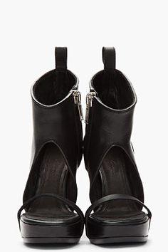 RICK OWENS Black cutout Wedge Sandal Boots
