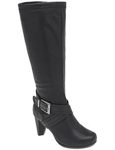 Our stylish heeled boot features chic croc detailing is a trendy buckle-wrapped design. Made for wide width, wide calf comfort, it features a side zipper and non-slip sole. Your essential Fall boot! lanebryant.com
