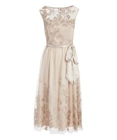 Another great find on #zulily! Gold Floral Sheer-Overlay Cap-Sleeve Midi Dress #zulilyfinds