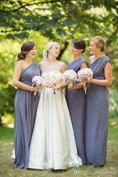 Long Chiffon 2014 Attractive Bridesmaid Dresses Pleated Floor Length Elegant Maid of Honor Dresses Gowns Cheap Custom Made Plus Size