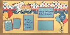 Birthday Wished Kiwi Club Kit Used: Scallops, Chestnut drive, Celebrate and Tiny Celebrate. Kiwi Lane Designs, Scrapbook Pages, Scrapbook Layouts, Scrapbooks, Birthday Wishes, Layout Design, Birthdays, Doodles, Kit