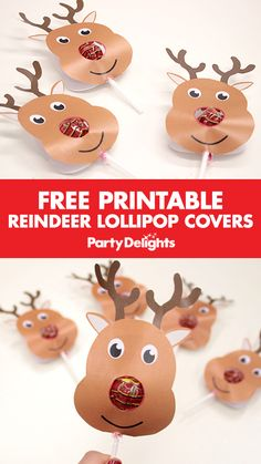 Wouldn't this be a cute Christmas party favour? Simply download our free printable lollipop covers and stick one on each lollipop to make a reindeer lollipop! A cute Christmas party bag filler.