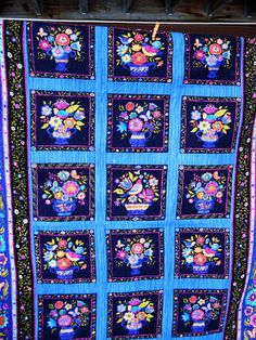 Throw quilt lap blanket twin quilt folk art by KellettKreations