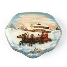 """""""Family Troika Ride Lacquer Box Item No. LB00327A01 $167.99 This Wintertime troika lacquer box from Russia is about 5 1/2"""" long and 4 1/2"""" wide in size. It features a lovely painting of a Russian family of three having a great time in the Winter season with their three-horse-drawn sleigh. This imported Fedoskino box is a one of a kind and considered a collectible Russian item. Signed """"Fedoskino"""" and """"Lavrov"""" (place and artist)."""" Winter Time, Winter Season, Russian Landscape, Russian Winter, Family Of Three, Horse Drawn, Snow Globes, Horses, Seasons"""