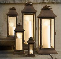 How to Outfit Your Patio Like a Posh Hotel: Choose soft, romantic lighting to set a relaxing mood. Outdoor Candle Lanterns, Large Lanterns, Lanterns Decor, Brown Lanterns, Glass Lanterns, White Candles, Natural Living, Porch Decorating, Decorating Tips