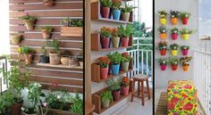 Backyard Plants, Plant Design, Small Balconies, Vertical Gardens, Hanging Pots, Diy, Garden, Handmade Crafts, Terrace
