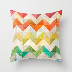 quilted throw pillows | Chevron Rainbow Quilt Throw Pillow by Rachel Caldwell | Society6