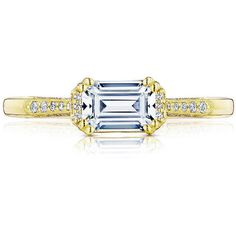 Tacori 2655EC6.5X4.5 Y Simply Tacori Yellow Gold East West Emerald... ($2,790) ❤ liked on Polyvore featuring jewelry, rings, pave diamond ring, gold engagement rings, pave diamond engagement rings, yellow gold engagement rings and yellow gold band ring