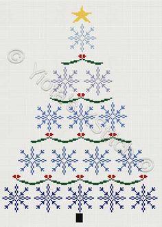 Snowflake christmas tree cross stitch