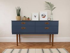Items similar to SOLD SOLD - Upcycled Sideboard, Vintage Mid Century Modern. Painted Stiffkey Blue, Dark Navy with Teak Details & Drawer Storage on Etsy Teak Furniture, Upcycled Furniture, Vintage Furniture, Furniture Decor, Painted Furniture, Furniture Design, Blue Hallway Furniture, Retro Furniture Makeover, Furniture Movers