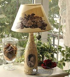 Great idea for old lamps! Decoupage na lampie - z butelki Decoupage Furniture, Decoupage Art, Wine Bottle Crafts, Bottle Art, Old Lamps, Wine Art, Altered Bottles, Lampshades, Shabby Chic Decor