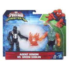 Hasbro Disney Marvel Ultimate Spider-Man vs. The Sinister Six Series: Agent Venom (Flash Thompson) vs. Ultimate Green Goblin (Firearms) Action Figure 2-pack 6 Inches Tall in Card with Fireball Hasbro, Disney & Marvel 2016 PREORDER!!!