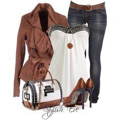 Spijkerbroek bruin wit