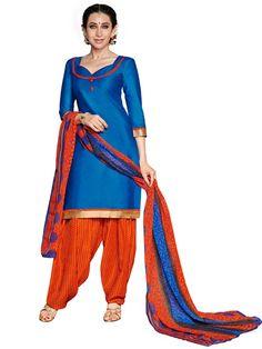 Ravishing Blue And Orange Cotton Salwar Suit - Salwar Suits - Rakhi Sale