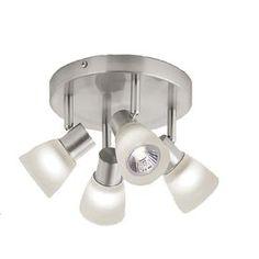 Style Selections�4-Light Brushed Nickel Flush-Mount Fixed Track Light Kit