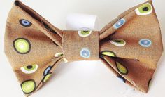 Brown Bow Tie for Dog or Cat Collar with Green & Blue Dots
