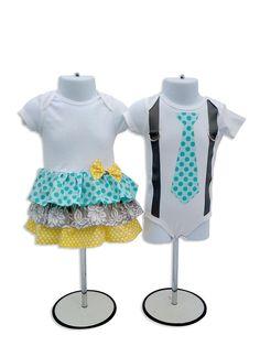 Boy Girl Twin  Matching Outfits  - Aqua/Yellow/Gray on Etsy, $49.00