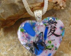 Valentine Jewelry, Pink Heart  Fused Glass Pendant,  Stone Look Glass Pendant -  Fused Glass Butterfly Pendant