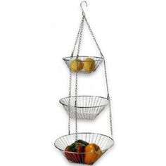 DecoBros 3-Tier Wire Hanging Basket, Chrome