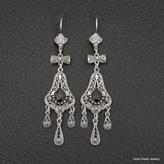 RARE NATURAL GARNET FILIGREE STYLE 925 STERLING SILVER GREEK HANDMADE EARRINGS #IreneGreekJewelry #DropDangle