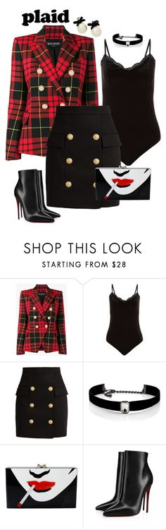"""""""Plaid Blazer - Classic Chic"""" by giovanina-001 ❤ liked on Polyvore featuring Balmain, Kenneth Jay Lane, Charlotte Olympia, Christian Louboutin and Kate Spade"""
