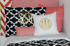 Coral Navy and Metallic Gold Sorority Monograms. Coral and navy designer bedding set. Available in all bed sizes: twin, full/queen, and king. Custom pillows, exclusive bed scarf, window panels, wall art, bed skirts, and custom monogramming! Custom made designer bedding and accessories