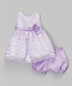 Lilac Floral Tulle Babydoll Dress & Bloomers - Infant | zulily
