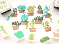 Succulent plant stamps, Kawaii cactus, Fleshy plants rubber stamp, Japanese…