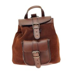 Suede Leather Backpack Small, Handmade in Greece, Colors: Tan /Light Brown, Black