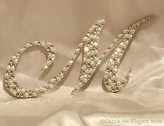 Swarovski Crystal Monogram Cake Toppers - Crystal and Pearl Cake Topper