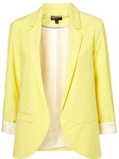 Yellow Boyfriend Ponte Rolled Sleeves Blazer