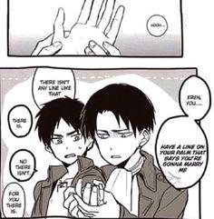 Levi reading Eren's Palm lines to predict his future marriage, Ereri
