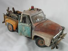 Addison Model Arts: Newest Batch of Weathered 1/18 scale trucks are now complete. These 1/18 scale (approx long) die-cast truck models are re-paints of standard off the shelf models each piece is completely hand-painted and weathered; no air brush was used.