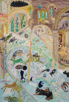 "Olive Ayhens, ""Memories of Beasts Past"" (2013), oil on linen, 47 x 32 in"