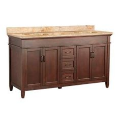 Ashburn 61 in. W x 22 in. D Double Basin Vanity in Mahogany with Cast Polymers Vanity Top in Tuscan Sun-ASGASETS6122D at The Home Depot