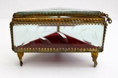 Vintage Beveled Glass Vanity Trinket Box by Brimfieldfinds on Etsy