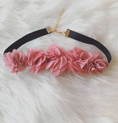 Pink chiffon flower choker  Flower Wedding Choker