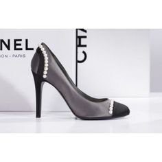 dfc07a328027 Chanel Two Tone Satin Pumps with Pearl Detail as seen on Victoria Beckham  Chanel Pumps