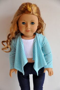 Teal and White Striped Cascade Jacket Sweater by CircleCSewing