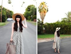New Darlings - Summer Style - Straw Hat - Printed Maxi Dress