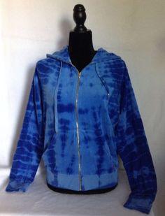 Juicy Couture Blue Tie Dye Degrade Relax Jacket Loose Fit Hoodie SZ Med NWT $118 #JuicyCouture #Hoodie