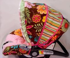 Custom Boutique Funky Retro Floral Infant Car by smallsproutsbaby, $109.00