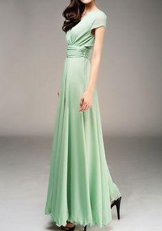 3043806f1d Light Green Pleated V-Neck Evening Party Beach Wedding Sundress Bohemian  Elegant Wrap Maxi Dress