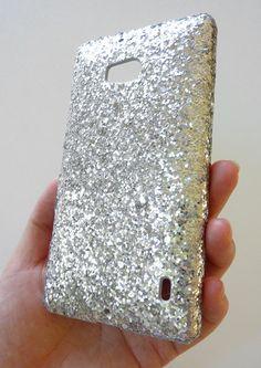 For Nokia Lumia Icon 929 Silver Specks Sequin Bling Phone Case Cover by Yunikuna